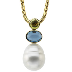 South Sea Circle Pearl, Peridot and London Blue Topaz Pendant Ref 224623