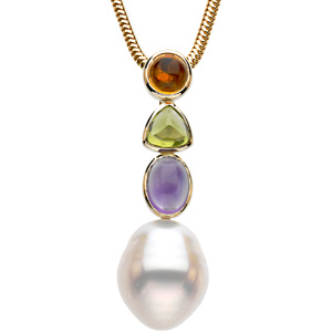 South Sea Pearl, Citrine, Peridot and Amethyst Pendant Ref 266009