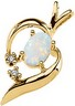 Genuine Cabochon Opal and Diamond Pendant 6 x 4mm Ref 116188