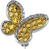Genuine Yellow Sapphire and Diamond Butterfly Brooch .1 CTW Ref 501264