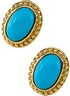 Genuine Turquoise Cabochon Earrings 11 x 7mm Ref 990131