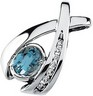 Genuine Aquamarine and Diamond Pendant 7 x 5mm .08 CTW Ref 112505
