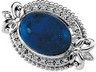 Genuine Lapis Cabochon and Diamond Brooch 14 x 10mm .1 CTW Ref 491936