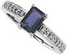 Genuine Iolite And Diamond Ring 7 x 5mm .1 CTW Ref 924414