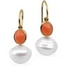 South Sea Circle Pearl and Genuine Coral Earrings 11mm Ref 431052