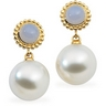 South Sea Pearl and Genuine Chalcedony Earrings 12mm Fine Near Ref 740444