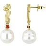 South Sea Pearl and Red Coral Earrings 11mm Near Round Ref 878976