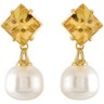 Aquarella  Golden South Sea Cultured Pearl and Genuine Citrine Earrings Ref 252896