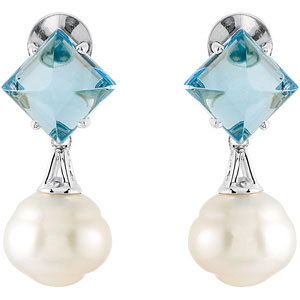 South Sea Cultured Pearl and Genuine Swiss Blue Topaz Earrings Ref 114025