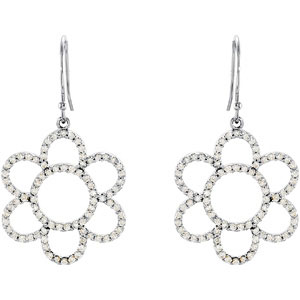 .75 CTW Diamond Flower Earrings Ref 842585