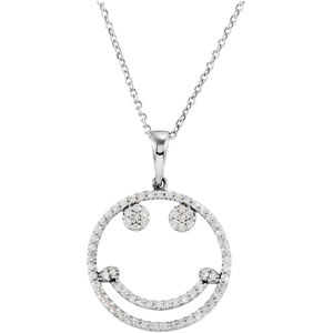 .33 CTW Diamond Smiley Face 16 inch Necklace Ref 261606