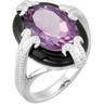 Genuine Amethyst and Onyx Ring Ref 770516