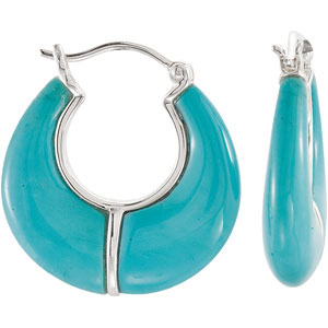 Genuine Chinese Turquoise Hoop Earrings | Ref. 197030