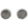 Sterling Silver Cuff Links Set with Buffalo Nickel Coins Ref 194201