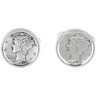 Sterling Silver Cufflinks Set with Mercury Dime Coins Ref 320930