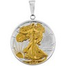Gold plated Silver Walking Liberty .5 Dollar Set Into a Silver Frame Ref 353928
