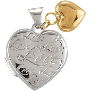 Heart Locket with 14KY Heart Dangle Ref 604409