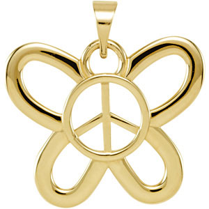 Butterfly Shaped Peace Sign Pendant Ref 177721