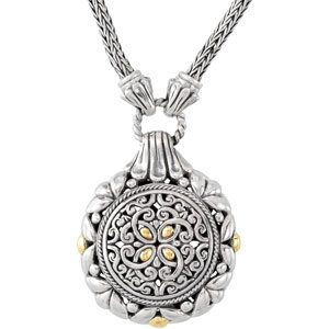 Filigree Design 18 inch Necklace with 18KY Accents Ref 118880