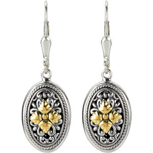 Filigree Design Earrings with 18KY Accents Ref 221016