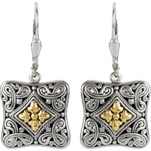 Filigree Design Earrings with 18KY Accents Ref 198814