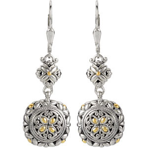 Filigree Design Earrings with 18KY Accents Ref 348854