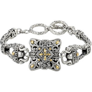 Filigree Design Double Toggle Bracelet with 18KY Accents Ref 894549