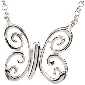 Sterling Silver Butterfly Necklace Ref 534690