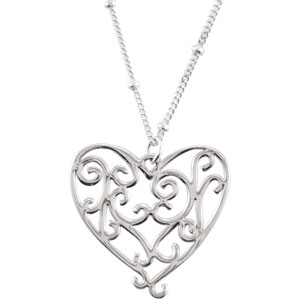 Sterling Silver Heart 16 inch Necklace Ref 391608