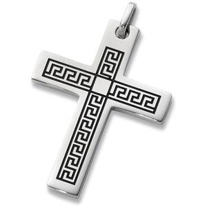 Stainless steel greek key cross pendant with enamel ref 368989 stainless steel greek key cross pendant with enamel ref 368989 aloadofball Choice Image