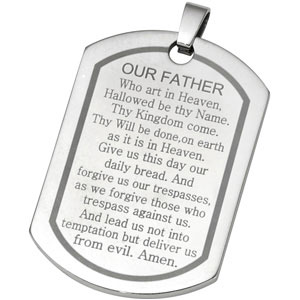 Joyas Alternativas Stainless Steel Lords Prayer Dog Tag Pendant Ref 394514