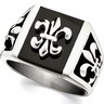 Stainless Steel Fleur de lis Ring with Black Enamel Ref 287189