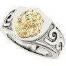 Stainless Steel Ring with 10kt Yellow Lions Head Ref 573962