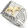 Stainless Steel Ring with 10kt Yellow Elephant and Greek Key Ref 169776