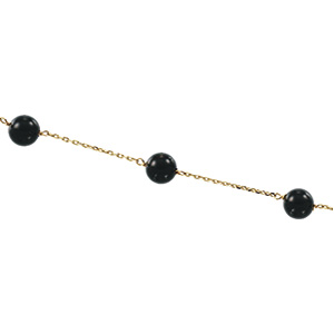 6mm Solid Black Onyx Station Necklace 18 inches Ref 327990