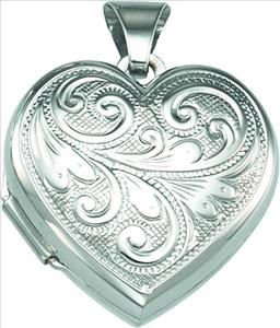 SS 17.5 x 18 mm Heart Locket with Design on Back | Ref. 888507