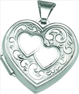SS 17.75 x 18.25mm Heart Locket with Stripe Design on Back Ref 974183