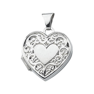 SS 15 x 15.5mm Heart Locket with Stripe Design on Back Ref 247005