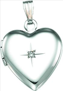 SS .01 Carat 14.5 x 15 mm Diamond Heart Locket