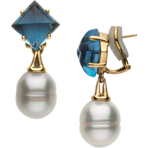 South Sea Cultured Pearl and Genuine London Blue Topaz Earrings Ref 284362