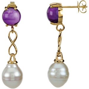 Aquarella  South Sea Cultured Pearl and Genuine Amethyst Earrings Ref 782007