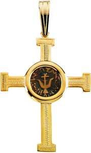 Engraved Cross Pendant With Widows Mite Coin 40 X 3125mm Ref 396840
