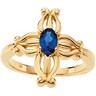 Contemporary Cross Ring with Sapphire 6 x 4mm Ref 849986