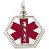Sterling Silver Medical ID Pendant with Red Enamel 21 x 21mm Ref 355268