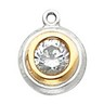 Two Tone Round Swarovski Solitaire Back Set Bezel Dangles 3mm Ref 946544