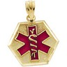 Medical ID Pendant with Red Enamel 15.25 x 14.75mm Ref 488087