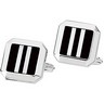Sterling Silver Onyx Opal Mother of Pearl Cuff Links Pair Ref 376360