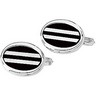 Sterling Silver Onyx Opal Mother of Pearl Cuff Links Pair Ref 816025