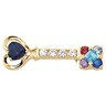 Mothers Key  Brooch with Heart, Round and Princess Cut Gemstones Ref 355804