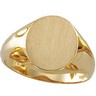 Gents Solid Oval Signet Ring with Brush Finished Top 14 x 12mm Ref 961748